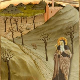 Maestro dell'Osservanza (Sano di Pietro): Versuchung des hl. Antonius, um 1435/40, New York, Metropolitan Museum.